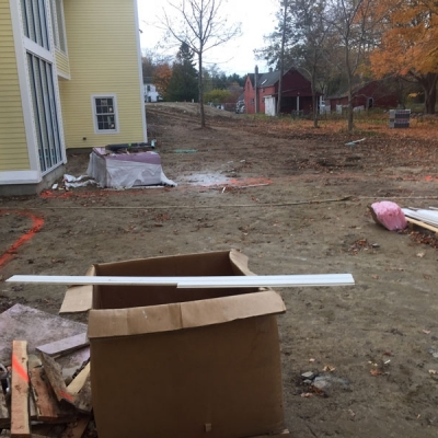 Before Patio and Seating Wall and Walkway