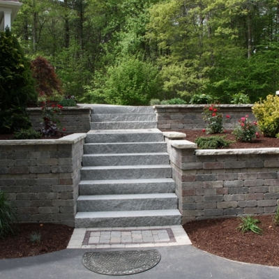 Retaining Wall and Piers and Woodbury Grey Granite Steps