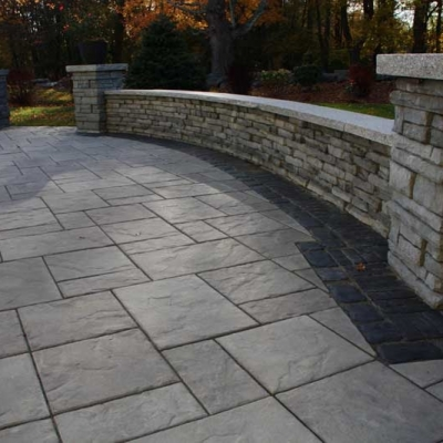 Seating Wall and Piers with Woodbury Grey Granite and Low Voltage Lighting