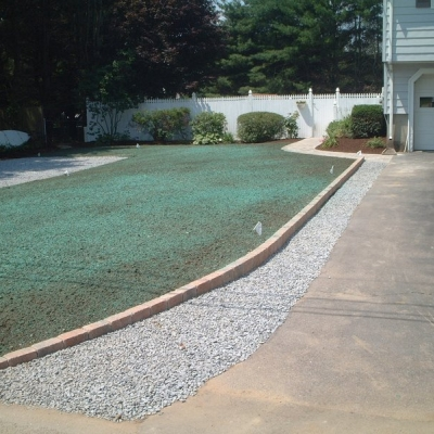 Hdroseeded Lawn Area with Cobbled Edge