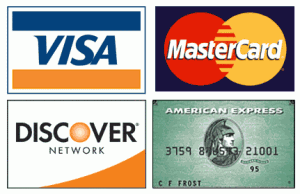 Mastercard, visa, american express, discover accepted.